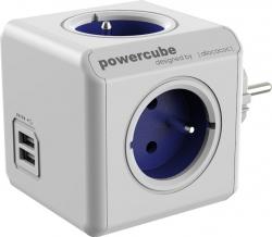 Zásuvka rozbočka PowerCube 4 zásuvka s USB modrá 2202/FROUPC