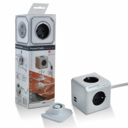 Zásuvka rozbočka PowerCube 4 zásuvka s USB a kabel šedá 2402/FRE