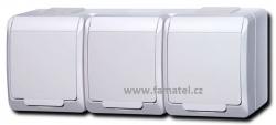 Zásuvka trojnásobná vodorovná 5323-02 16A bílá Famatel