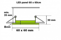 Led panel svítidlo 36W do podhledu 600 x 600 SQLED 10021 Thome lighting